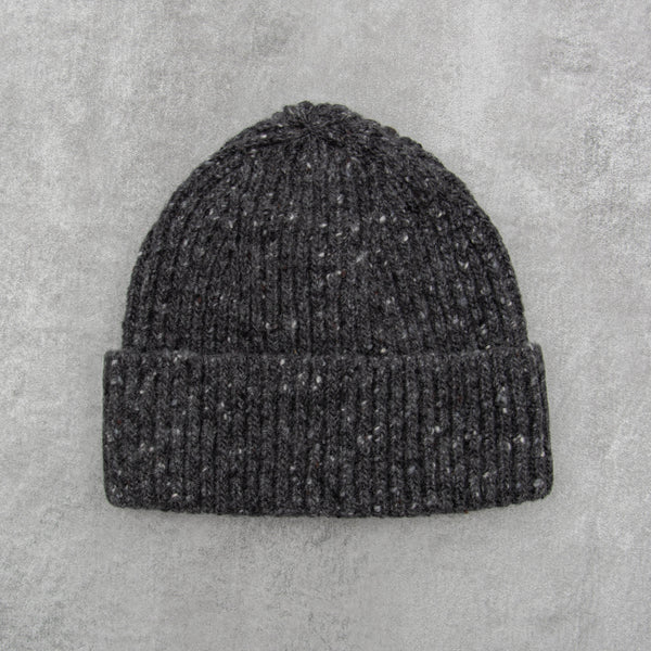 Donegal Wool Beanie - Charcoal 1
