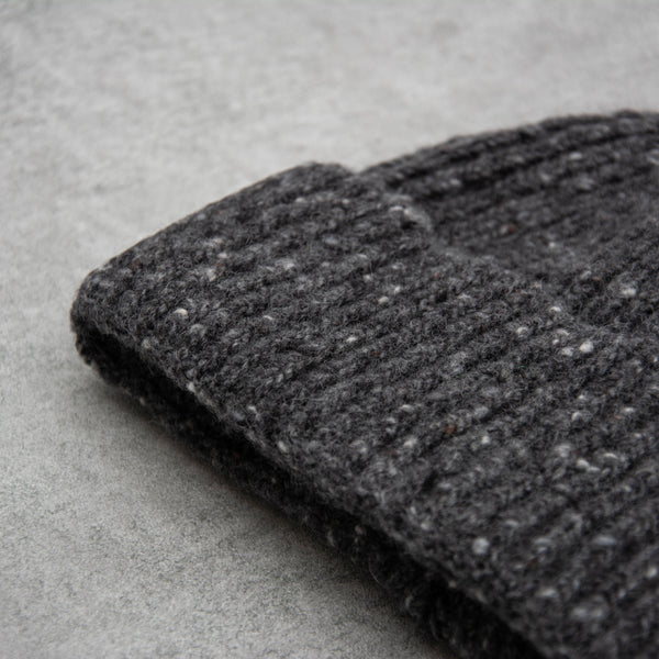 Donegal Wool Beanie - Charcoal 2