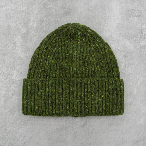 Donegal Wool Beanie - Green 1