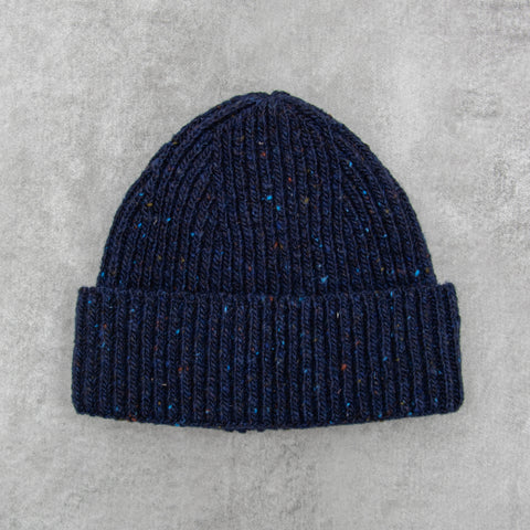 Donegal Wool Beanie - Navy 1