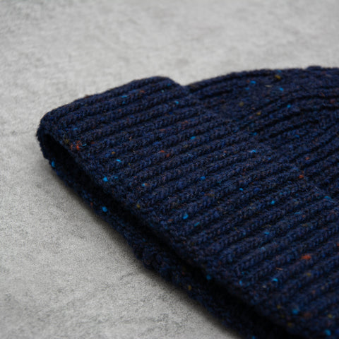 Donegal Wool Beanie - Navy 2