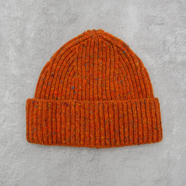 Donegal Wool Beanie - Orange 1