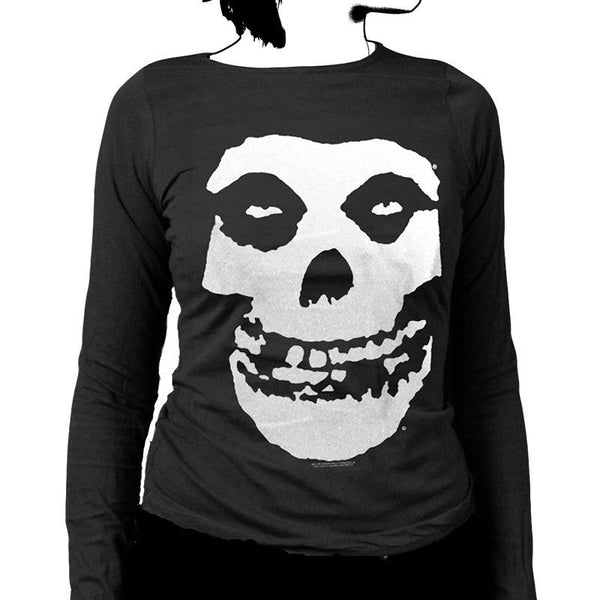 Classic Fiend Skull Womens Long Sleeve Shirt - Misfits Shop - 1