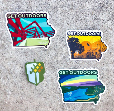 "INHF ""Get Outdoors"" Sticker variety pack"
