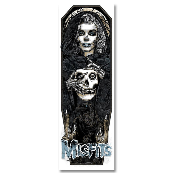 "'Unmasked' (Black Edition) by Rhys Cooper 12"" x 36"", 6-color screen-print poster (w/ glow in the dark & metallic inks) - Misfits Records - 1"