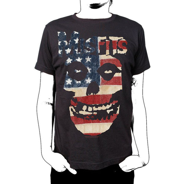 Skulls and Stripes T-Shirt - Misfits Records - 1