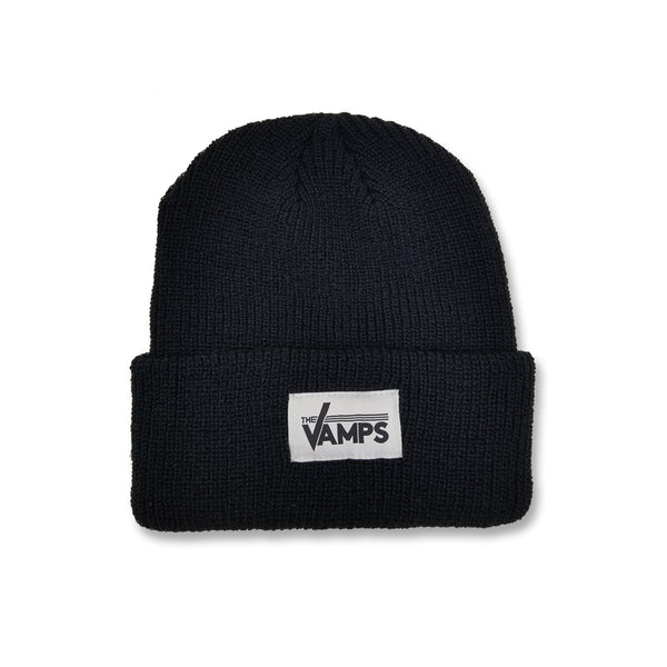 Black Woven Label Beanie