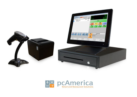 Retail Point of Sale System - includes Cash Register Express POS, Touchscreen PC, Receipt Printer, Scanner, Cash Drawer, and Credit Card Swipe