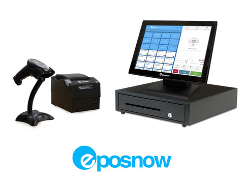 Retail Point of Sale System - includes Touchscreen PC, POS Software (ePOSNow), Receipt Printer, Scanner, Cash Drawer, and Credit Card Swipe