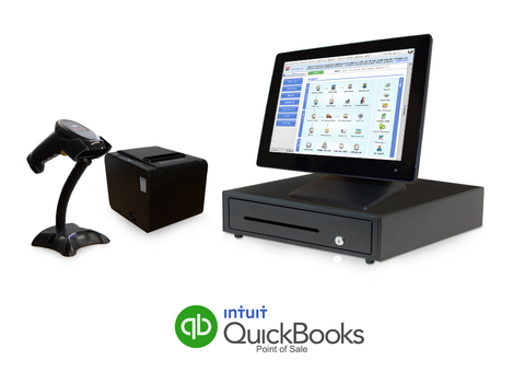Retail Point of Sale System - includes Touchscreen PC, POS Software (QuickBooks V18), Receipt Printer, Scanner, Cash Drawer, and Credit Card Swipe