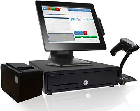 Retail Point of Sale System - includes Touchscreen PC, POS Software (RetailPOS), Receipt Printer, Scanner, Cash Drawer, and Credit Card Swipe