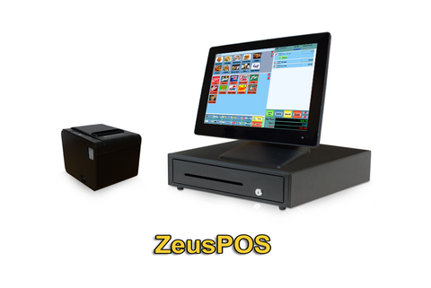 Restaurant Point of Sale System - includes Touchscreen PC, POS Software (ZeusPOS), Receipt Printer, Scanner, Cash Drawer, and Credit Card Swipe
