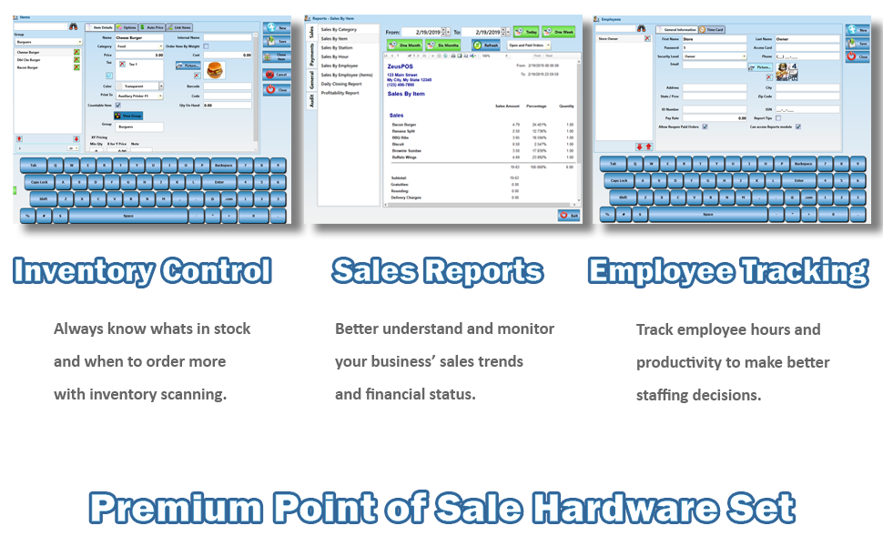 Retail Point of Sale System - includes Touchscreen PC, POS Software (Zeus  POS), Receipt Printer, Wireless Scanner, Cash Drawer, and Credit Card Swipe