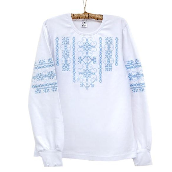 Russian Costume: Girls Blue & White Long-Sleeves