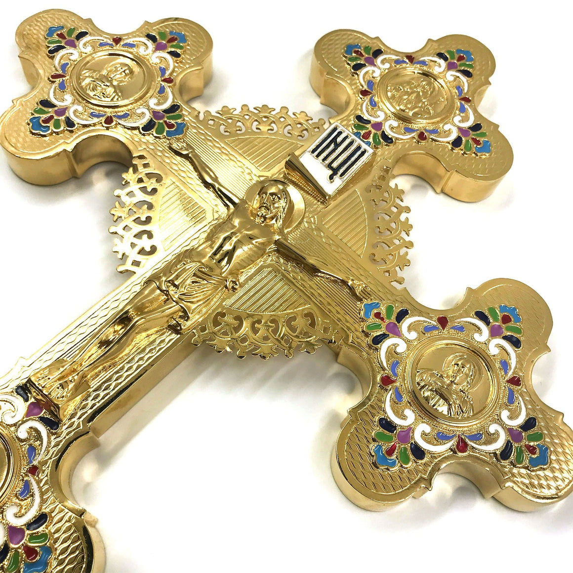 Blessing Cross: Gold-plated, Enameled (Large)