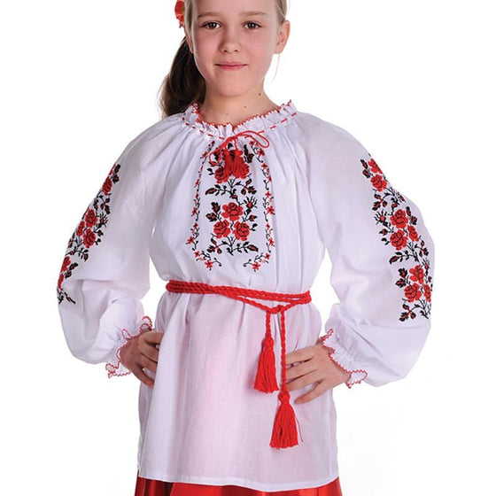 Russian Costume: Girls Red & White Embroidered Shirt (12-18 Months)