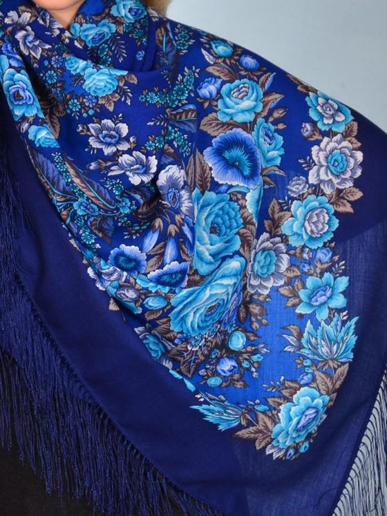 "Pavlovo Posad Scarf ""Royal Blues"""