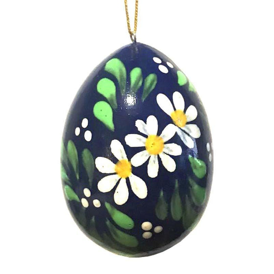 Floral Wooden Egg Ornament: White & Blue
