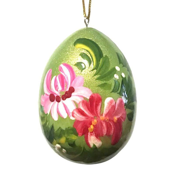 Floral Wooden Egg Ornament: Green & Pinks