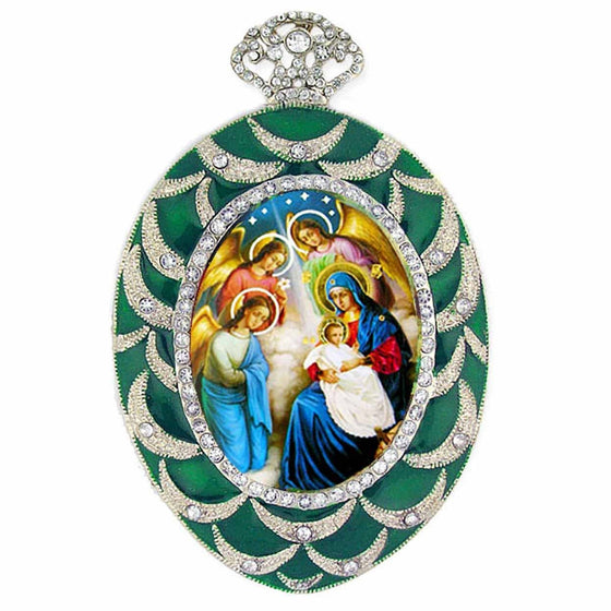 Faberge Inspired Green Nativity Ornament
