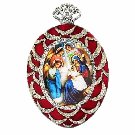 Faberge Inspired Red Nativity Ornament