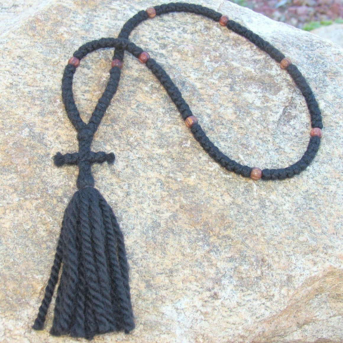 100-knot Russian Prayer Rope - 3 ply with Wooden Beads