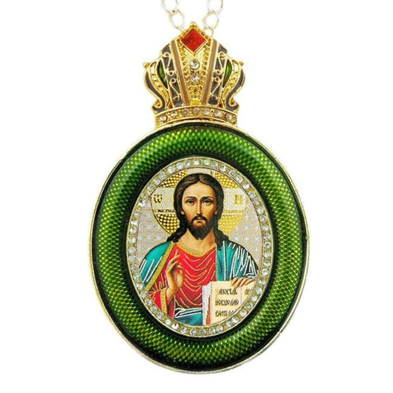 Faberge Style Ornament: Christ the Saviour (Green)