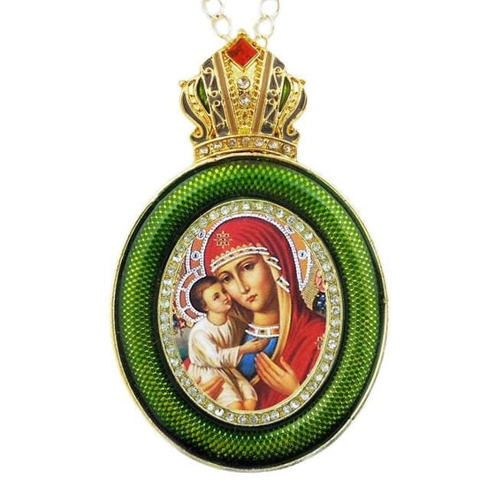 Faberge Style Ornament: Mother of God (Green)