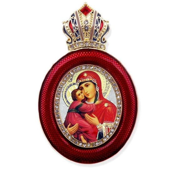 Faberge Style Ornament: Vladimir Mother of God (Red)