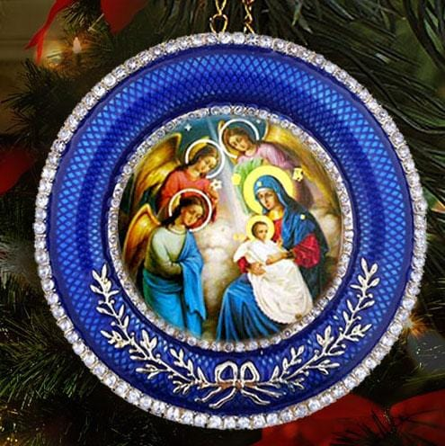 Faberge Style Frame: Nativity of Christ (Blue; with stand and chain)