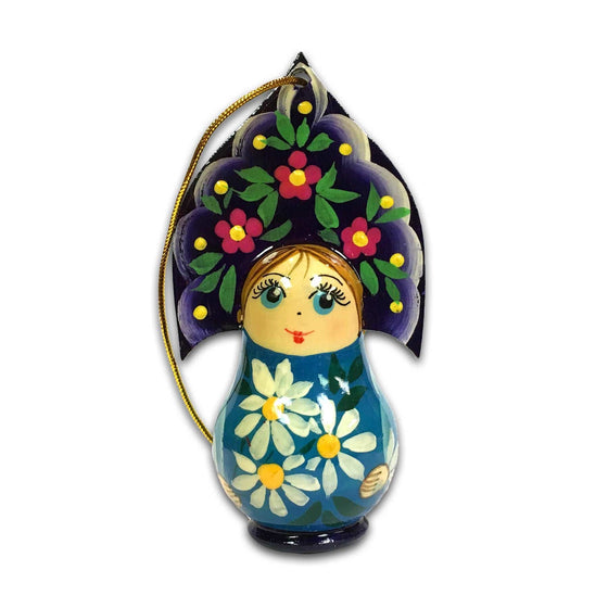 "Wooden Ornament ""Kokoshnik Blue"""