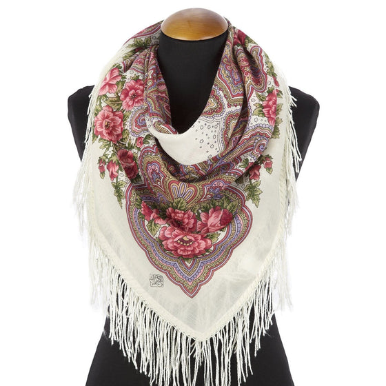 "Pavlovo Posad Scarf ""Cream & Strawberry"""
