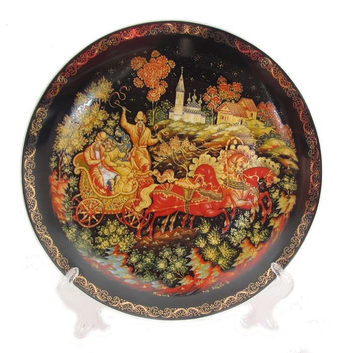 "Decorative Palekh Plate ""Troika"""