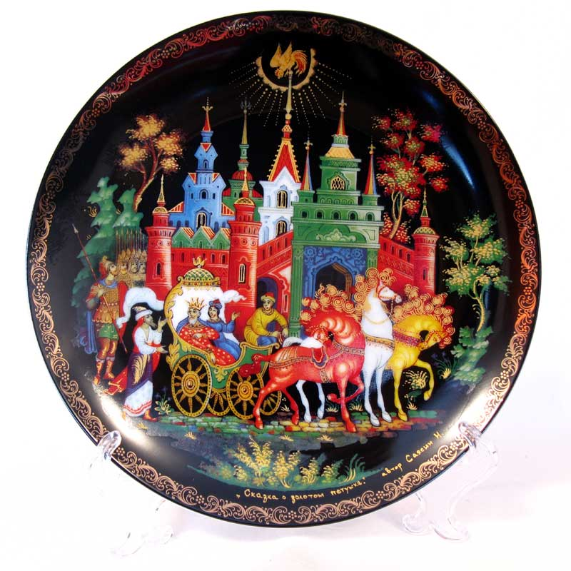"Decorative Palekh Plate ""Golden Cockerel"""