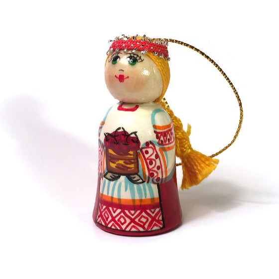 Wooden Ornament: Girl with Cherries