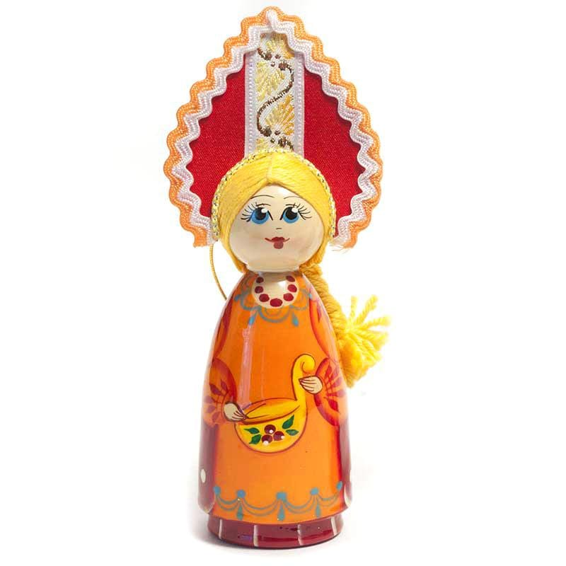Wooden Doll with Kokoshnik: Autumn