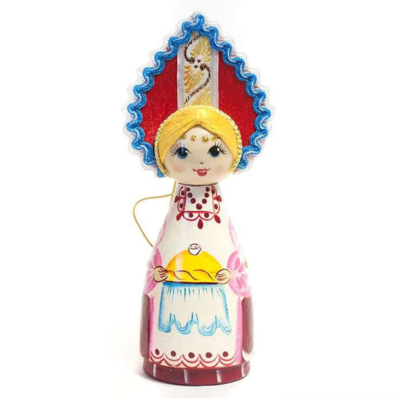 Wooden Doll with Kokoshnik: Bread & Salt