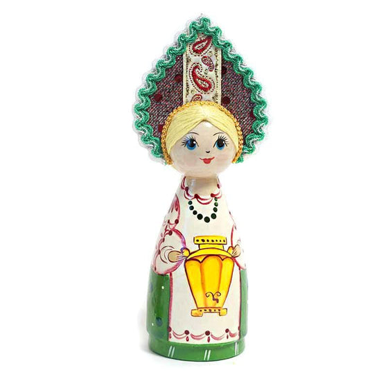 Wooden Doll with Kokoshnik: Samovar