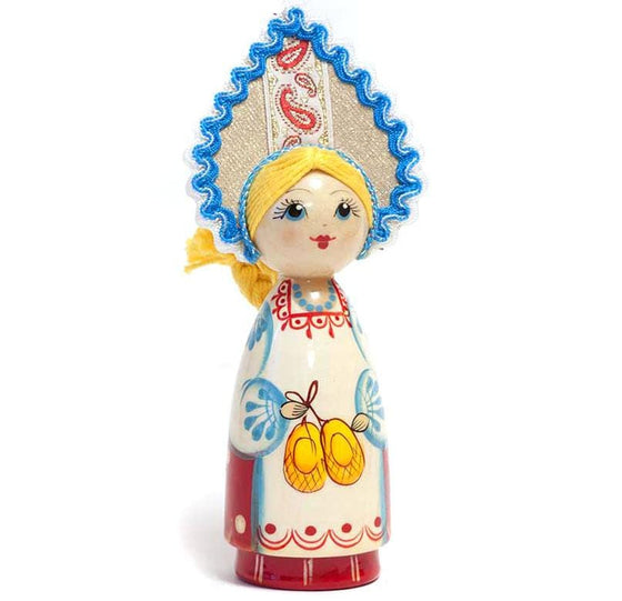 Wooden Doll with Kokoshnik: Valenki