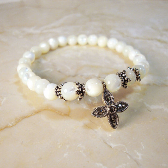 Prayer Bracelet: Semi-precious Stone Mother of Pearl