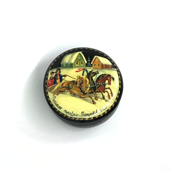 "Lacquer Box Miniature ""Russian Winter Troika"" (hand-painted)"