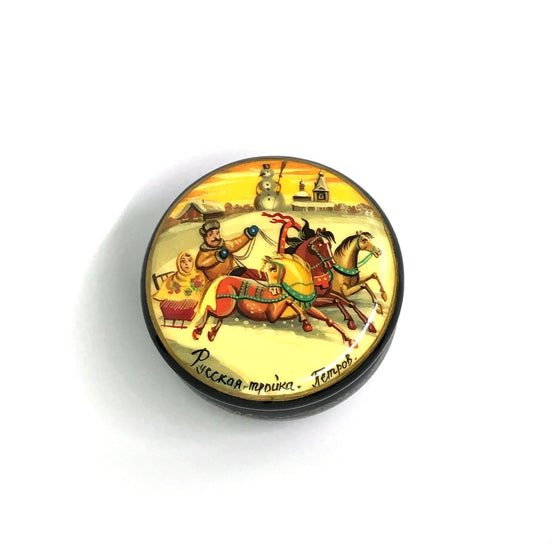 "Lacquer Box Miniature ""Sunrise Winter Troika"" (hand-painted)"