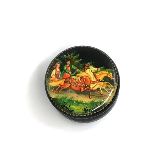 "Lacquer Box Miniature ""Summer Troika"" (hand-painted)"