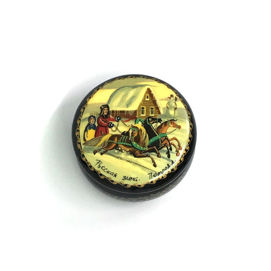 "Lacquer Box Miniature ""Russian Winter"" (hand-painted)"