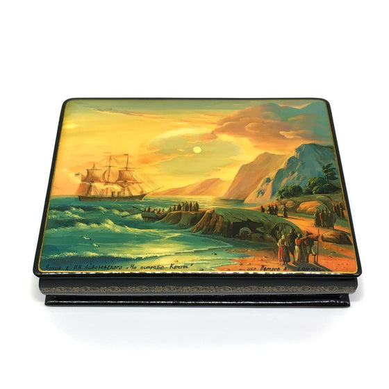 "Lacquer Box ""Island of Crete"" (hand-painted)"