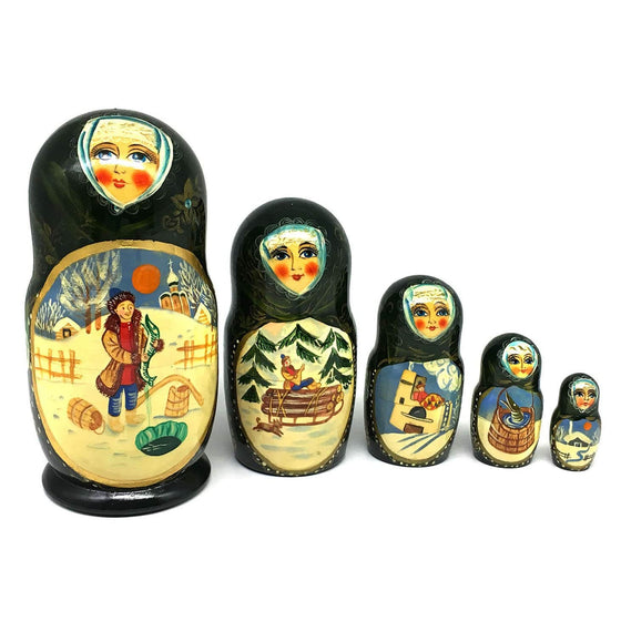 "Hand-painted Matryoshka ""Emelya and the Magic Pike"""