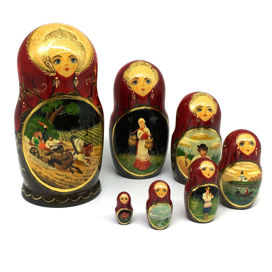 "Hand-painted Matryoshka ""Russian Countryside"""