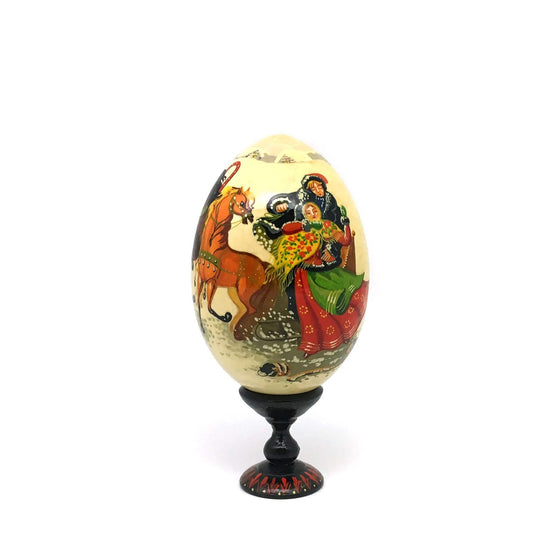 Standing Wooden Egg (Medium): Winter Troika