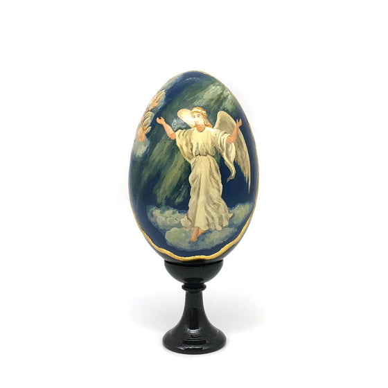Standing Wooden Egg (Medium): Christmas Angel
