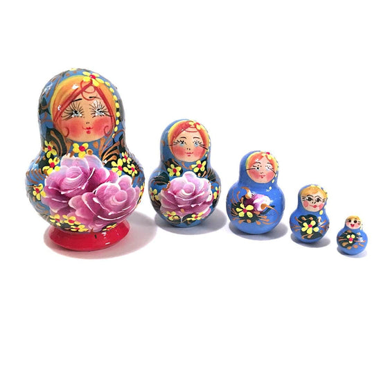 Matryoshka: Summer Garden Blue, 5-piece